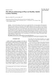 Vol 26: The Effects of Running in Place on Healthy Adults Lumbar Stability.