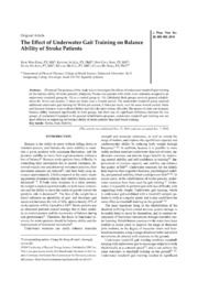 Vol 26: The Effect of Underwater Gait Training on Balance Ability of Stroke Patients.