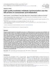 Vol 65: Light quality modulates metabolic synchronization over the diel phases of crassulacean acid metabolism.