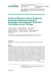 Vol 8: A Case of Plummer-Vinson Syndrome Showing Rapid Improvement of Dysphagia and Esophageal Web after Two Weeks of Iron Therapy.