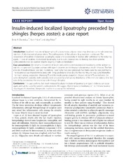 Vol 8: Insulin-induced localized lipoatrophy preceded by shingles herpes zoster: a case report.