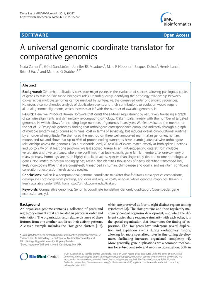 Vol 15: A universal genomic coordinate translator for comparative genomics.