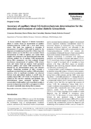 Vol 15: Accuracy of capillary blood 3-hydroxybutyrate determination for the detection and treatment of canine diabetic ketoacidosis.