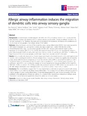 Vol 15: Allergic airway inflammation induces the migration of dendritic cells into airway sensory ganglia.