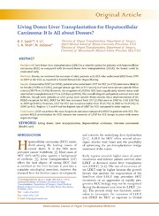 Vol 4: Living Donor Liver Transplantation for Hepatocellular Carcinoma: It Is All about Donors
