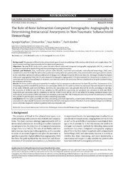 Vol 11: The Role of Bone Subtraction Computed Tomographic Angiography in Determining Intracranial Aneurysms in Non-Traumatic Subarachnoid Hemorrhage.