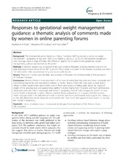 Vol 14: Responses to gestational weight management guidance: a thematic analysis of comments made by women in online parenting forums.