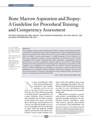 Vol 3: Bone Marrow Aspiration and Biopsy: A Guideline for Procedural Training and Competency Assessment.