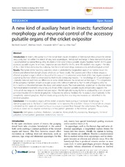 Vol 11: A new kind of auxiliary heart in insects: functional morphology and neuronal control of the accessory pulsatile organs of the cricket ovipositor.