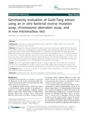 Vol 14: Genotoxicity evaluation of Guibi-Tang extract using an in vitro bacterial reverse mutation assay, chromosome aberration assay, and in vivo micronucleus test.