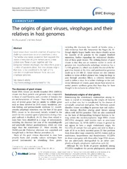 Vol 12: The origins of giant viruses, virophages and their relatives in host genomes.