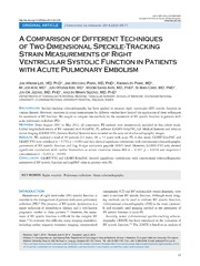 Vol 22: A Comparison of Different Techniques of Two-Dimensional Speckle-Tracking Strain Measurements of Right Ventricular Systolic Function in Patients with Acute Pulmonary Embolism.