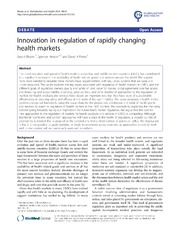 Vol 10: Innovation in regulation of rapidly changing health markets.