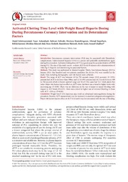 Vol 6: Activated Clotting Time Level with Weight Based Heparin Dosing During Percutaneous Coronary Intervention and its Determinant Factors.