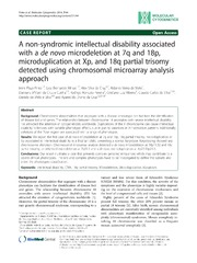 Vol 7: A non-syndromic intellectual disability associated with a de novo microdeletion at 7q and 18p, microduplication at Xp, and 18q partial trisomy detected using chromosomal microarray analysis approach.