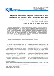 Vol 27: Repetitive Transcranial Magnetic Stimulation to Treat Depression and Insomnia with Chronic Low Back Pain.