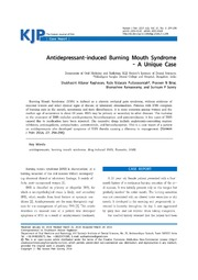 Vol 27: Antidepressant-induced Burning Mouth Syndrome: A Unique Case.
