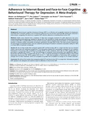 Vol 9: Adherence to Internet-Based and Face-to-Face Cognitive Behavioural Therapy for Depression: A Meta-Analysis.