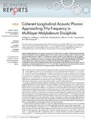 Vol 4: Coherent Longitudinal Acoustic Phonon Approaching THz Frequency in Multilayer Molybdenum Disulphide.