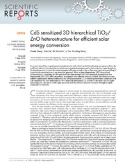 Vol 4: CdS sensitized 3D hierarchical TiO2-ZnO heterostructure for efficient solar energy conversion.