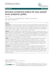 Vol 7: Derivative component analysis for mass spectral serum proteomic profiles.