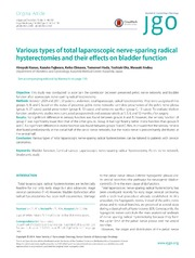 Vol 25: Various types of total laparoscopic nerve-sparing radical hysterectomies and their effects on bladder function.