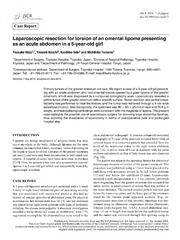 Vol 2014: Laparoscopic resection for torsion of an omental lipoma presenting as an acute abdomen in a 5-year-old girl.