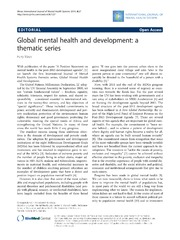 Vol 8: Global mental health and development: a thematic series.