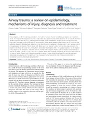 Vol 9: Airway trauma: a review on epidemiology, mechanisms of injury, diagnosis and treatment.