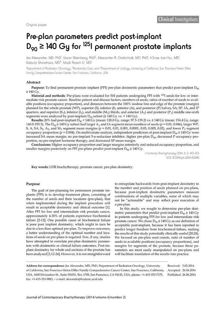 Vol 6: Pre-plan parameters predict post-implant D90 >= 140 Gy for 125I permanent prostate implants.