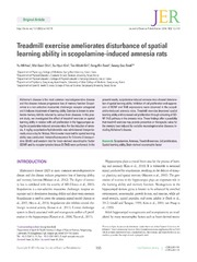 Vol 10: Treadmill exercise ameliorates disturbance of spatial learning ability in scopolamine-induced amnesia rats.
