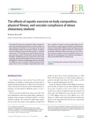 Vol 10: The effects of aquatic exercise on body composition, physical fitness, and vascular compliance of obese elementary students.