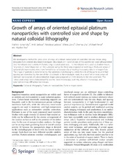 Vol 9: Growth of arrays of oriented epitaxial platinum nanoparticles with controlled size and shape by natural colloidal lithography.