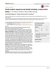 Vol 3: Tooth eruption sequence and dental crowding: a case-control study.