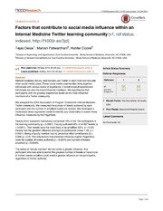 Vol 3: Factors that contribute to social media influence within an Internal Medicine Twitter learning community.