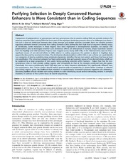 Vol 9: Purifying Selection in Deeply Conserved Human Enhancers Is More Consistent than in Coding Sequences.