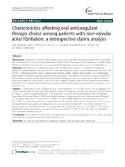 Vol 14: Characteristics affecting oral anticoagulant therapy choice among patients with non-valvular atrial fibrillation: a retrospective claims analysis.