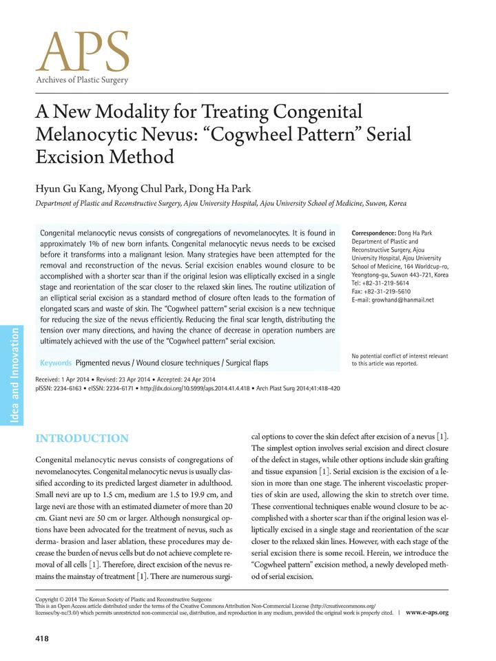 Vol 41: A New Modality for Treating Congenital Melanocytic Nevus: Cogwheel Pattern Serial Excision Method.