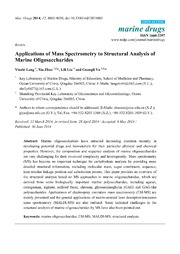 Vol 12: Applications of Mass Spectrometry to Structural Analysis of Marine Oligosaccharides.