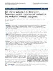 Vol 7: Self-referred patients at the Emergency Department: patient characteristics, motivations, and willingness to make a copayment.