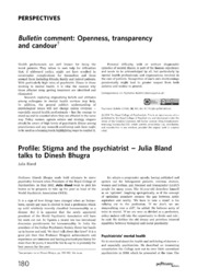 Vol 38: Profile: Stigma and the psychiatrist - Julia Bland talks to Dinesh Bhugra.