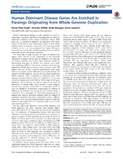 Vol 10: Human Dominant Disease Genes Are Enriched in Paralogs Originating from Whole Genome Duplication.