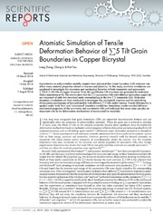 Vol 4: Atomistic Simulation of Tensile Deformation Behavior of 5 Tilt Grain Boundaries in Copper Bicrystal.