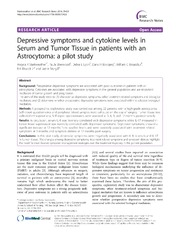 Vol 7: Depressive symptoms and cytokine levels in Serum and Tumor Tissue in patients with an Astrocytoma: a pilot study.
