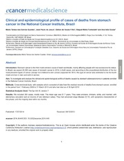 Vol 8: Clinical and epidemiological profile of cases of deaths from stomach cancer in the National Cancer Institute, Brazil.