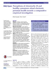 Vol 4: Perceptions of chronically ill and healthy consumers about electronic personal health records: a comparative empirical investigation.