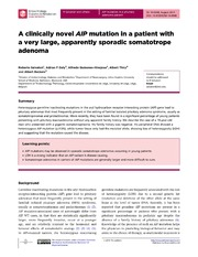Vol 2014: A clinically novel AIP mutation in a patient with a very large, apparently sporadic somatotrope adenoma.
