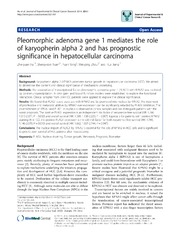 Vol 33: Pleomorphic adenoma gene 1 mediates the role of karyopherin alpha 2 and has prognostic significance in hepatocellular carcinoma.