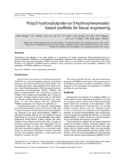 Vol 47: Poly3-hydroxybutyrate-co-3-hydroxyhexanoate-based scaffolds for tissue engineering.