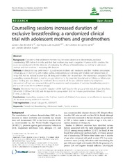 Vol 13: Counselling sessions increased duration of exclusive breastfeeding: a randomized clinical trial with adolescent mothers and grandmothers.